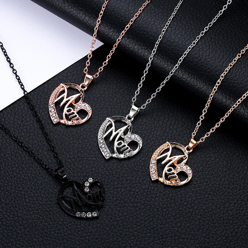 New Unique Design Necklace for Women Mother's Day Gift for MOM Hollow Out Gold Silver Alloy Metal Crystal Heart Pendant Necklace image