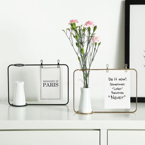 Creative Iron Line Flower Pot Plant Vase Stand Postcard Clip Holder Home Decor NEW