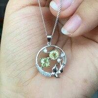 Природный синий сапфир камень кулон S925 серебро Природный камень кулон Цепочки и ожерелья Модные круглые Цветы Женщины гриль партия ювелирн
