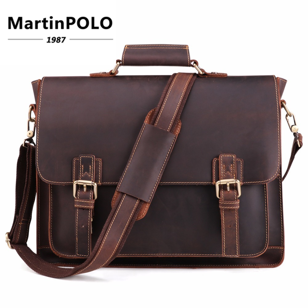 Newly Vintage Crazy Horse Leather Men's Briefcase Laptop Bag Business Bag Genuine Leather Shoulder Messenger Bag Office Handbag