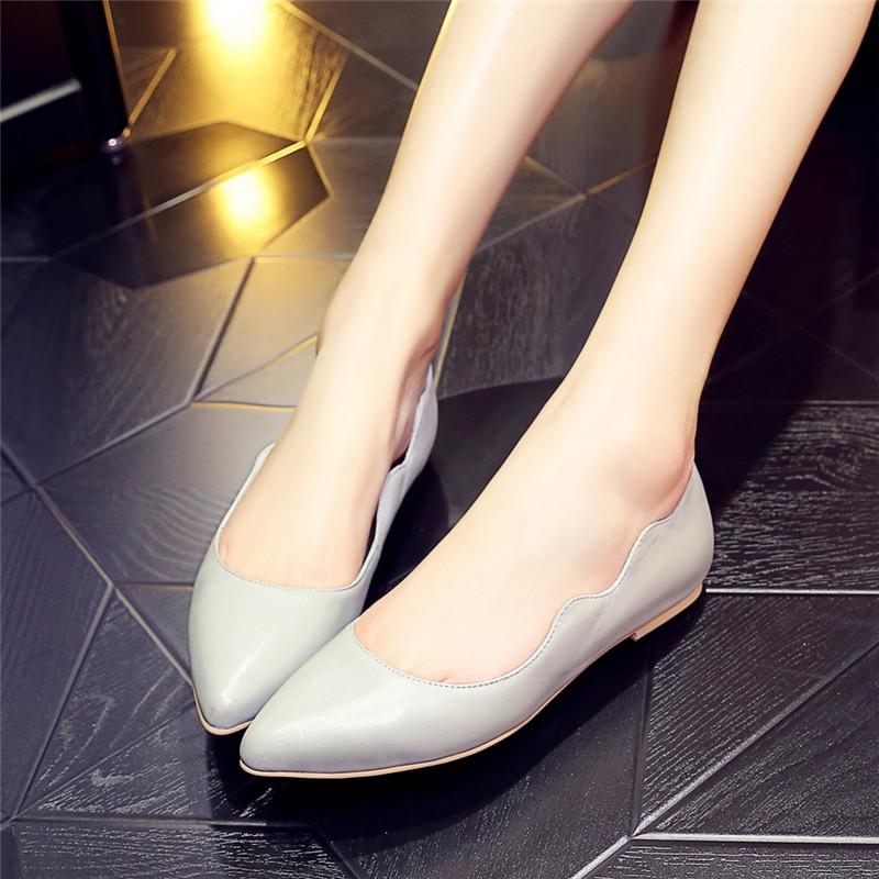 Women Flats 2016 Summer Style Casual Solid Pointed Toe Slip-On Flat Shoes Soft Comfortable Genuine Leather Women Shoes spring summer women flat ol party shoes pointed toe slip on flats ladies loafer shoes comfortable single casual flats size 34 41