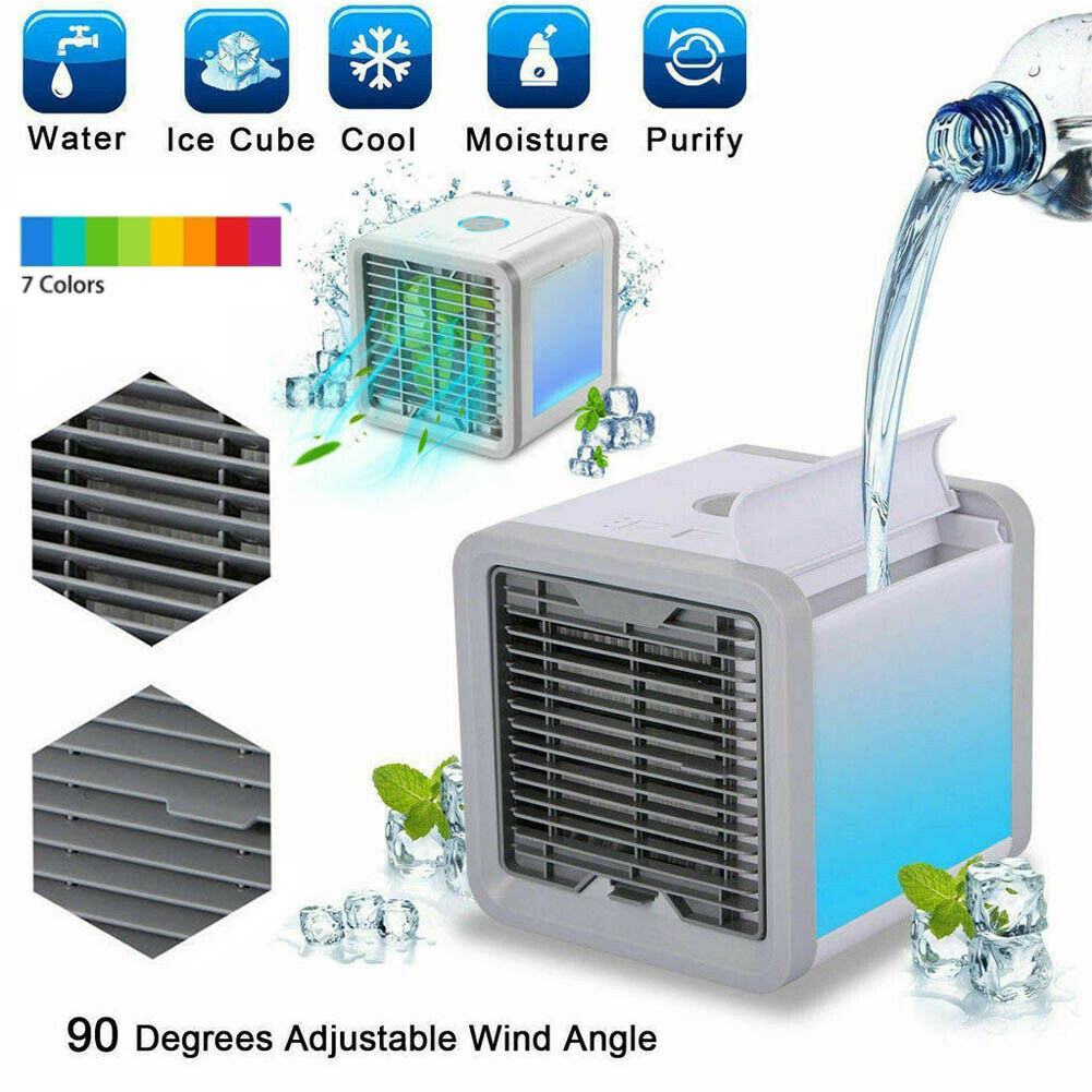 7 Colors LED Portable Mini Air Conditioner Cool Cooling For Bedroom Cooler Fan Water Ice Cube 90 Degree Adjustable Cooling Fans
