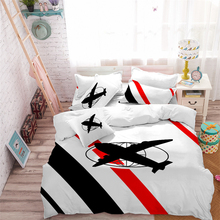 Kids Toy Airplane Print Bedding Set Cartoon Duvet Cover White Red Black Patchwork Bed Child Festival Gift Pillowcase