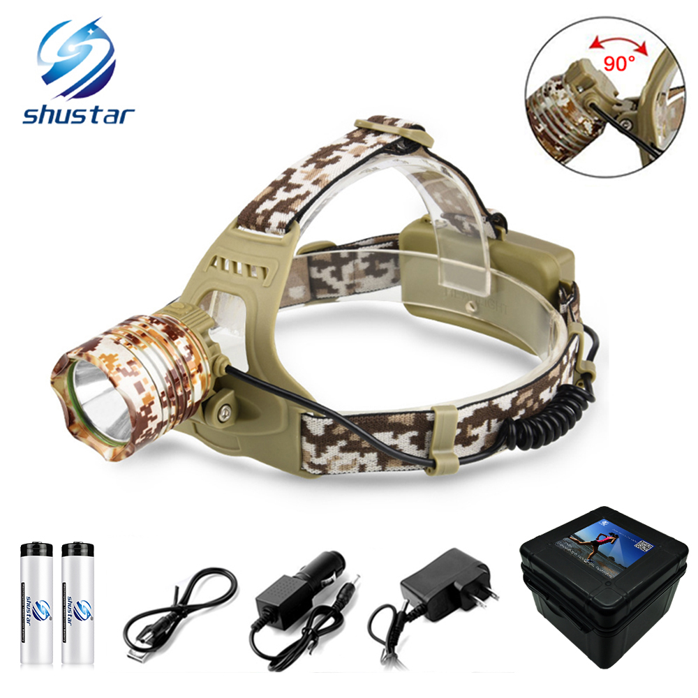 Camuflagem T6 8000LM LED Farol led Head Lamp Led Farol uso Da Lâmpada Da Lanterna Camping Caminhadas Pesca Luz 18650 bateria