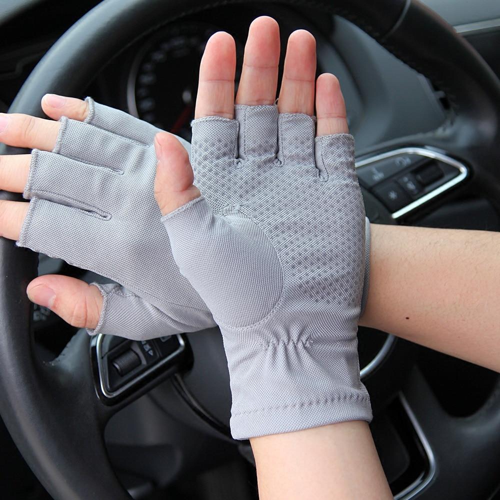 2019 Latest Spring Summer Sunscreen Gloves Male Half Finger Thin Non Slip Driving Semi Finger Fingerless Man 39 s Mittens SZ009W 4 in Men 39 s Gloves from Apparel Accessories