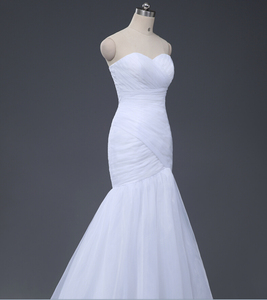 Image 4 - NOBLE WEISSในสต็อกSweetheartจีบOrganzaทรัมเป็ตMermaid Lace Up Backงานแต่งงานชุดเจ้าสาวจัดส่งฟรี0921