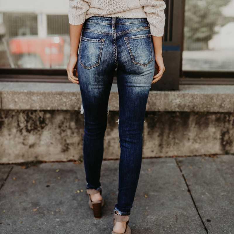 OEAK 2018 ファッション女性デニムジーンズ鉛筆パンツカジュアル穴リッピング長ズボンヴィンテージストレッチスリムフィット Pantalones