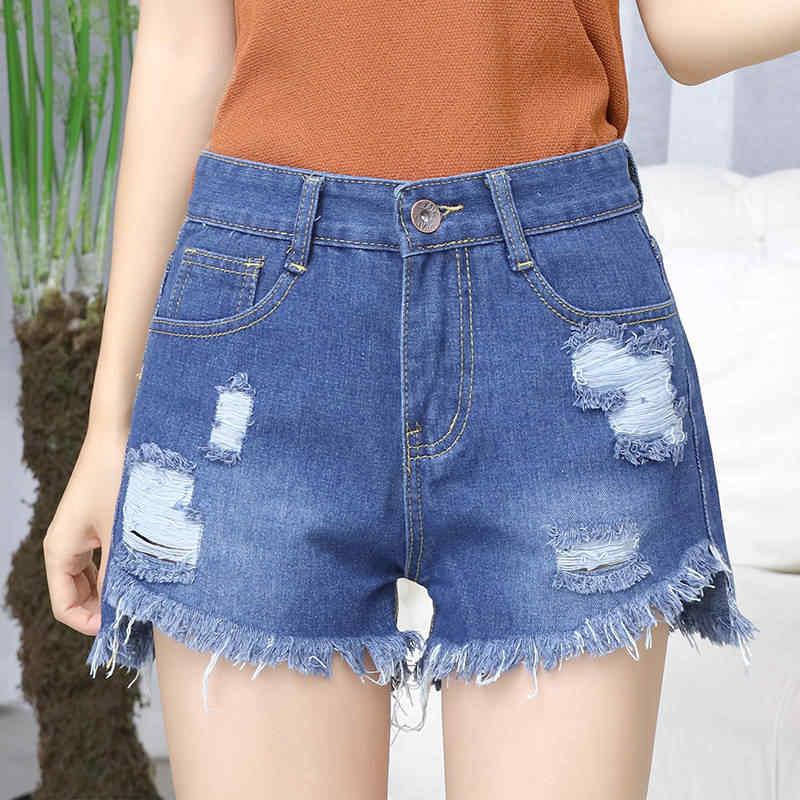 Sexy lato kobiet Denim szorty 2019 nowy w stylu Vintage niebieski zgrywanie krótkie dżinsy Femme kitki zasznurować