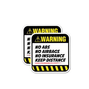 Image 2 - YJZT 2X 8,5 CM * 8,5 CM Gefahr Auto Aufkleber Warnung KEINE ABS AIRBAGS VERSICHERUNG HALTEN ABSTAND Aufkleber 12 1037