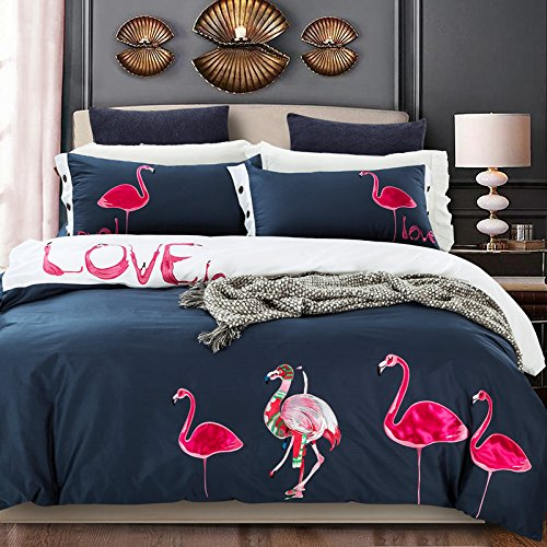 flamingo lecho queen size flamenco rosado bordado duvet cover set de tamao completo moderno