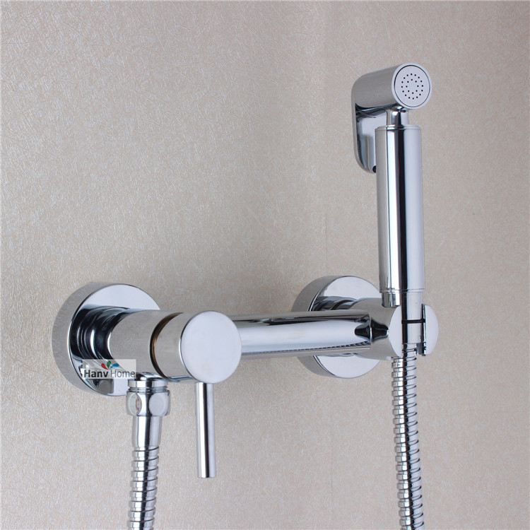 Brass Toilet Handheld Bidet Spray Shattaf + Hot U0026 Cold Water Valve Mixer  With Holder +