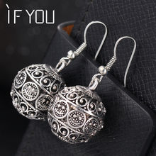 IF YOU New Spherical Silver Color Earrings for Women Hollow Dangle Earring Fashion Classic Jewelry Love Boucle D'oreille Femme(China)