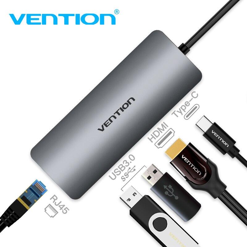 Vention Type C Converter USB C to HDMI 3.0 HUB Thunderbolt 3 Gigabit RJ45 Adapter for MacBook Samsung Galaxy S8/S9 USB 3.0 HUB usb 3 1 type c to 4k hdmi tv projector video adapter charging converter usb 3 0 hub for macbook for samsung galaxy s8 s9 note8