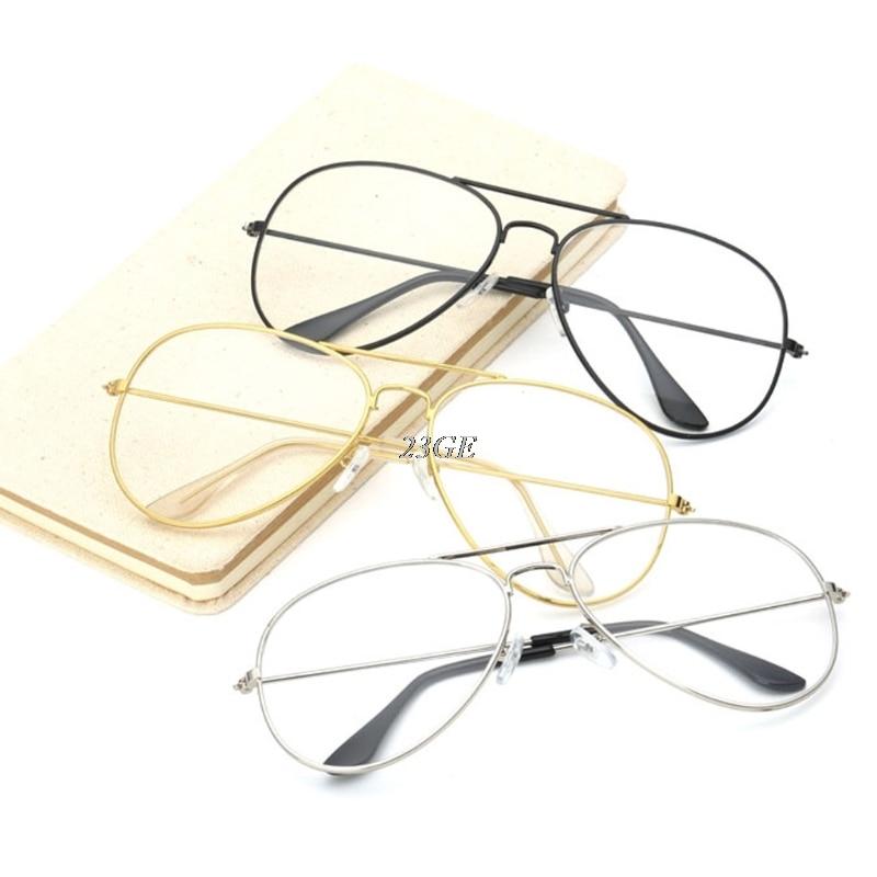 2017 Mode Großen Retro Metall Klare Linse Gläser Designer Tear Drop Rahmen Brillen Jun7_45