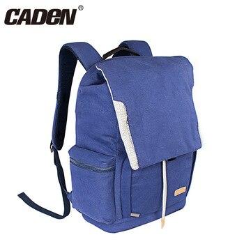 Caden Blue Canvas Photography Photo Video Soft Men Women Pack Lens Case Folding Camera Backpack Bag for Canon Nikon Sony DSLR