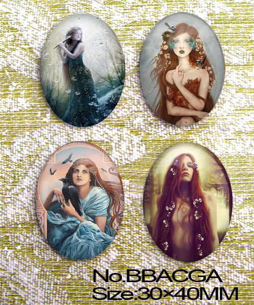 4 Khổng Lồ Vintage và cô gái xinh đẹp Hình Bầu Dục Kính 40x30mm Cabochon Cameo BBACGA
