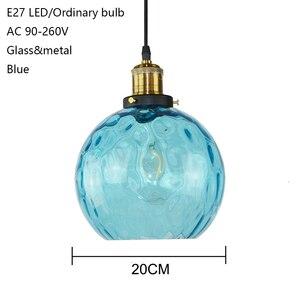 Image 2 - Современный стеклянный подвесной светильник в стиле лофт синего цвета, светодиодный винтажный скандинавский подвесной светильник E27 с 3 размерами для спальни, лобби, ресторана, офиса