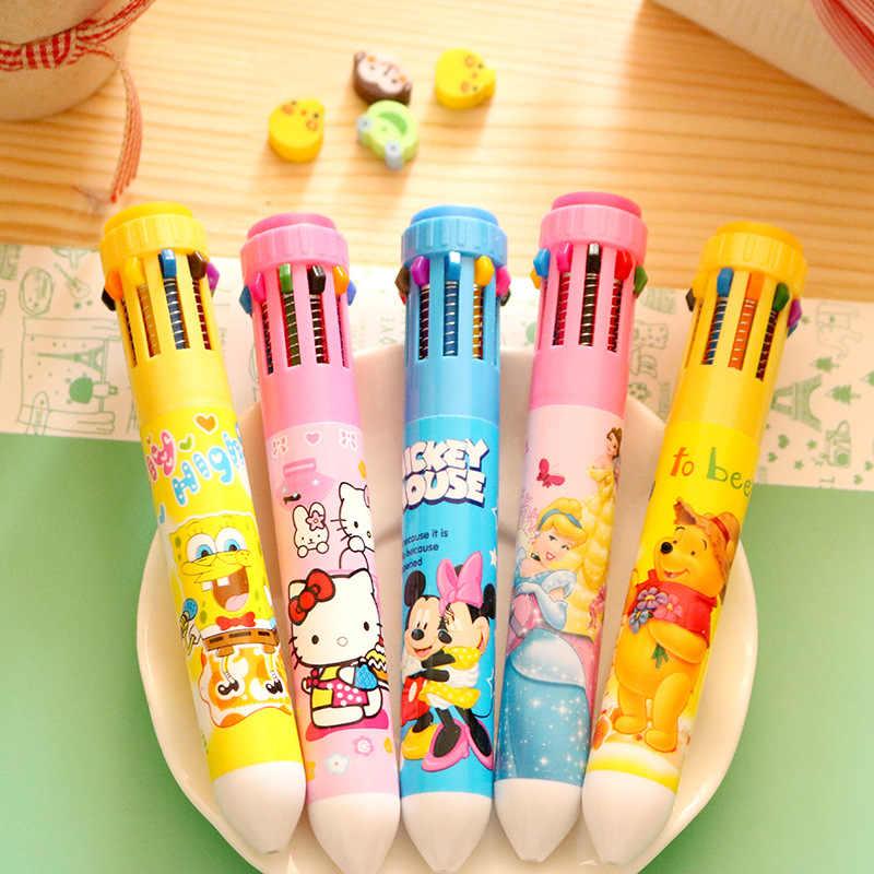 5 pcs/lot stylo à bille multicolore étudiants fournitures de papeterie corée du sud dessin animé créatif