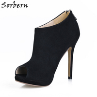 Sorbern Ladies Shoes With Heels Platform Shoes Peep Toe Ankle High Back Zipper Faux Suede Custom Colors Pump Ladies Size 43