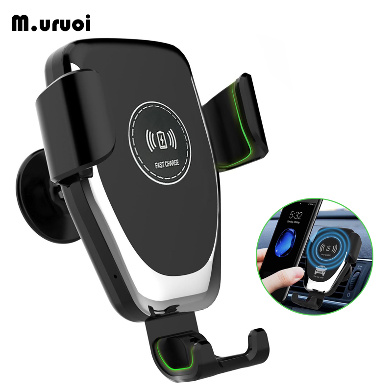 M.uruoi Qi Car Wireless Charger Gravity Locks Intelligent Inductive Fast Wireless Charging For iPhone Samsung Car Phone Holder