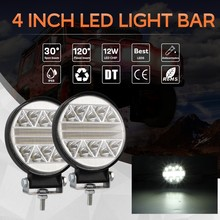 1 Or 2PCS 4 Inch 6000K white Round LED Work Light Driving Lamp Headlight offroad Truck