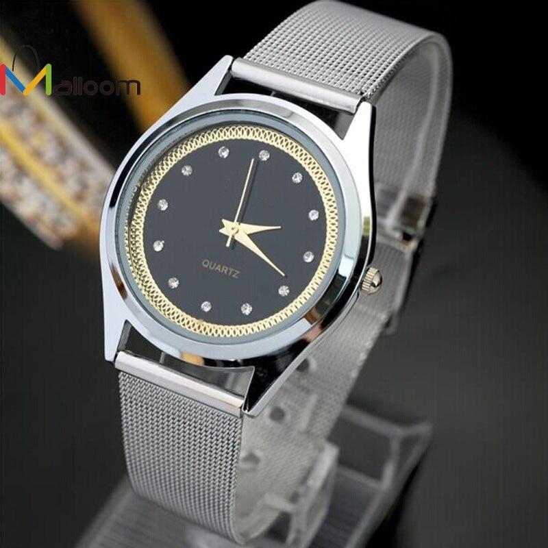 все цены на MALLOOM Fashion Watches Men luxury watch ladies Stainless Steel Quartz Wrist watches women luxury clock Orologio uomo #YH12 онлайн