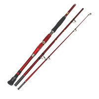 marine boat fishing rod carbon material jigging rod 3 section 1.8m 2.1 2.4m superhard ocean fishing at sea catfish rod