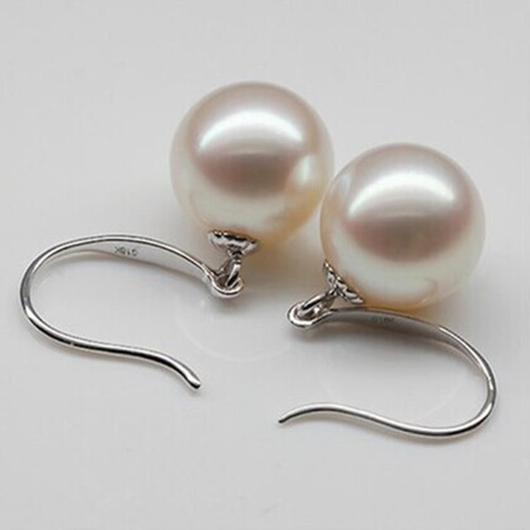 925 argento reale naturale grande Il classico d'acqua dolce naturale orecchini di perle Orecchini Gancio per L'orecchio Orecchini 925 Orecchini In Argento genuino - 2