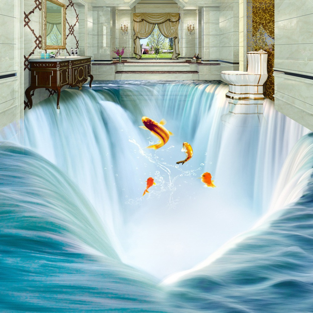 Custom 3d floor mural wall paper stereoscopic waterfall for Bathroom floor mural