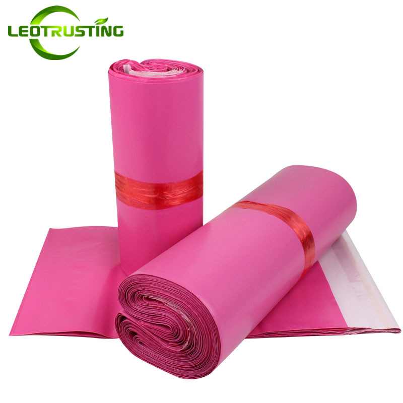 Leotrusting Deep Pink Poly Mailing Adhesive Envelope Bags Bolsa Gift Packaging Bags Plastic Mailer Pink Garment/Boxes Post Bags