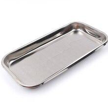 Vassoio di stoccaggio cosmetico in acciaio inossidabile 1PC attrezzatura per nail art piastra medico vassoio dentale chirurgico strumenti per piatti per unghie finte