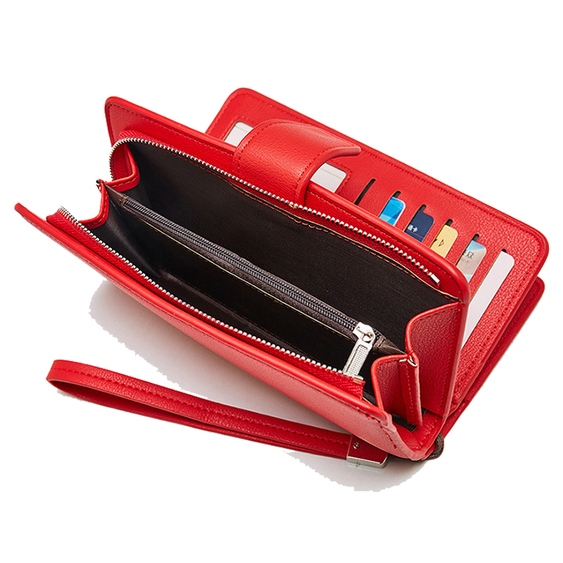 Wallet Female 2019 Pu Leather Wallet Leisure Purse Red Style Trifold Women Wallets Long Coin Purse Phone Card Holders Carteras