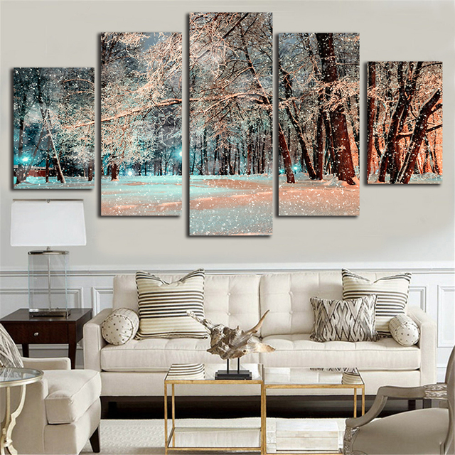 Winter Scenery Canvas Paintings American Style Design 5 Piece Wall Art Pictures For Kids Living Room