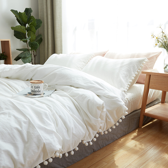 100 Cotton Bedding Set Simple White Ball Soft Bed Linings King