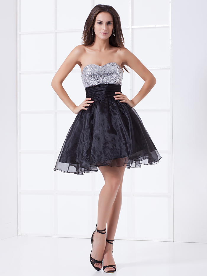 2015 Cheap Short Black Prom font b Dresses b font Strapless Ball Gown Sequins Organza Short