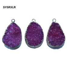 Wholesale Natural Unique Gules Druse Crystal Golden Plated Irregular Geode Stone Women Pendant DIY Necklaces For Jewelry Making