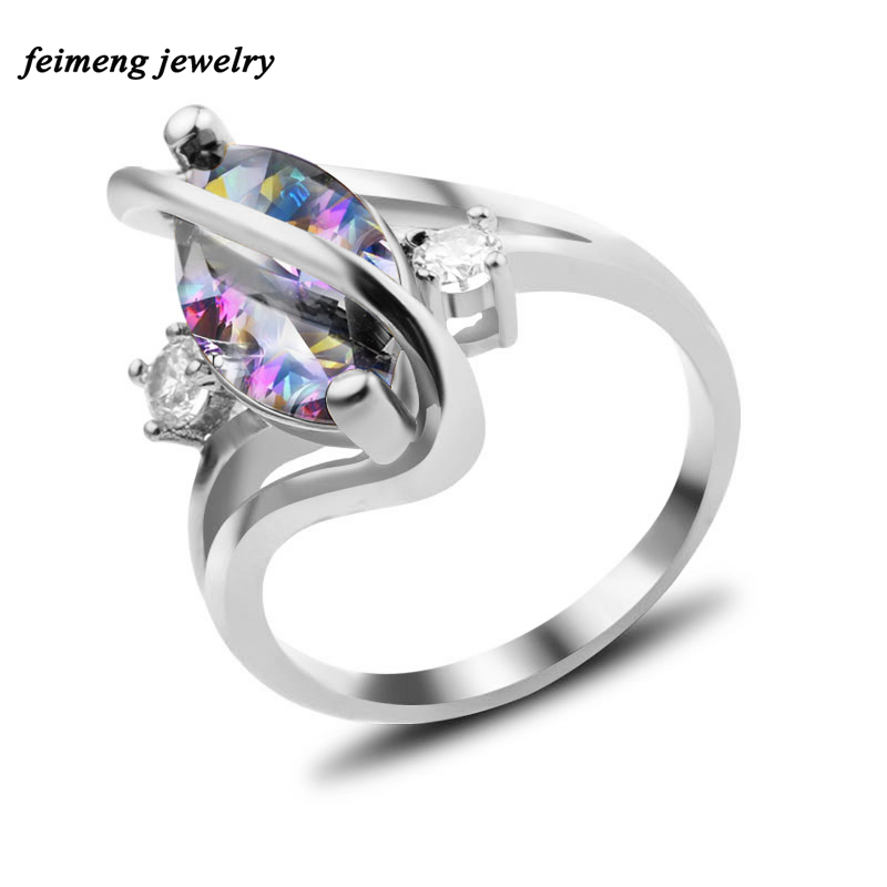 Pyriform Zircon Copper Ring Silver Filled Jewelry Luxury Wedding Engagement Rings For Women New Year Christmas Gifts Accessories