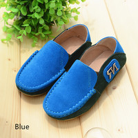 Genuine Leather Children School Shoes Suede Mixed Colors Boys Oxfords Loafers Shoes Kids Sneakers Children Casual