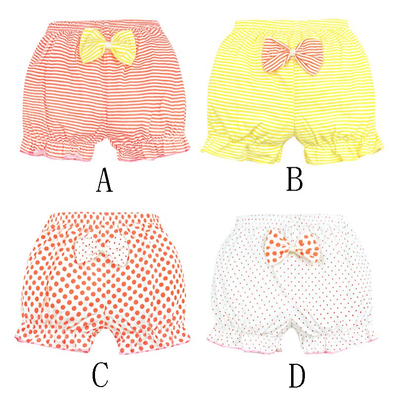 Baby Girls Shorts Children Cotton Soft Underpants Striped Dot Print Casual Underwear