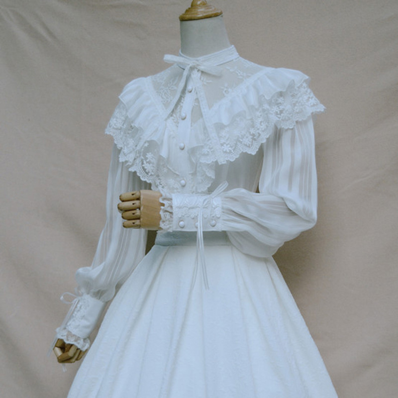 Col montant lanterne manches en mousseline De soie Floral dentelle à volants Blouse Vintage Lolita blanc chemise haut pour femme Blusas Mujer De Moda 2017