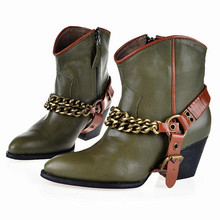 2016 winter women's shoes Chain , belt buckle Martin boots Europe styles Motorcycle boots Cowhide High-heeled cowboy boots