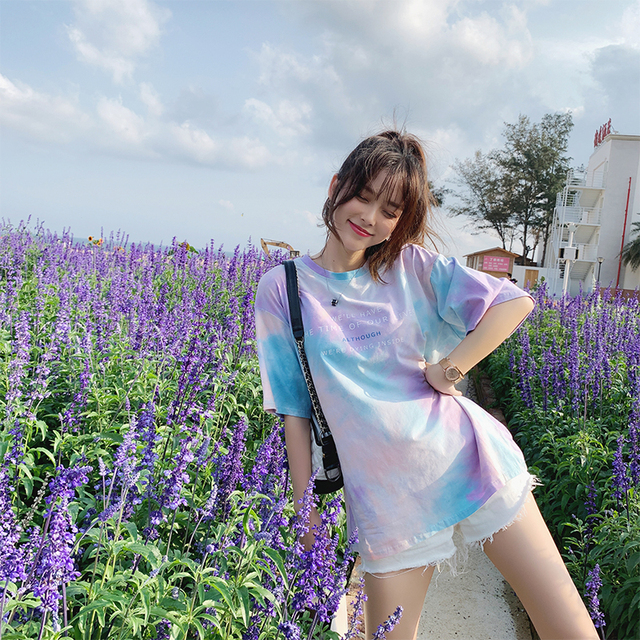 MiShow 2019 summer women fashion casual simple letter print round neck multicolor short sleeves Creative T-shirt MX19B3314