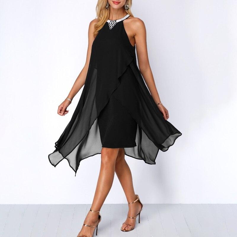 Plus Size Women Summer Round Neck Fashion Chiffon Sleeveless Dress Irregular Double Layer Beach Party sexy Loose Dresses