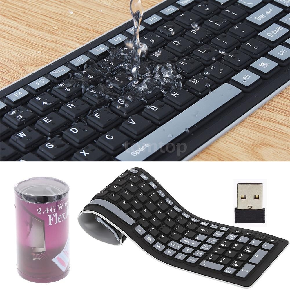 US $14 41 27% OFF|2 4 USB Portable Mini Flexible Roll Up Waterproof  Washable Soft Silicone Gaming Wireless Keyboard for PC Tablet Laptop  Computer-in