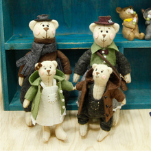 Lovely Teddy Bear Families Felt Craft Kit Doll Handmade Sewing Cloth Toys For kids Gifts Key Ring Pendant DIY Package