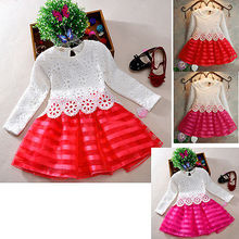 2016 Hot-Selling Baby Kids Girls Crochet Lace Flower Party Dress Princess Long Sleeve Tutu Dress Age 3-8Y 3 Colors 2019 new design embroidered flower navy blue baby kids girls princess dress kids summer party dress clothes 3 8y