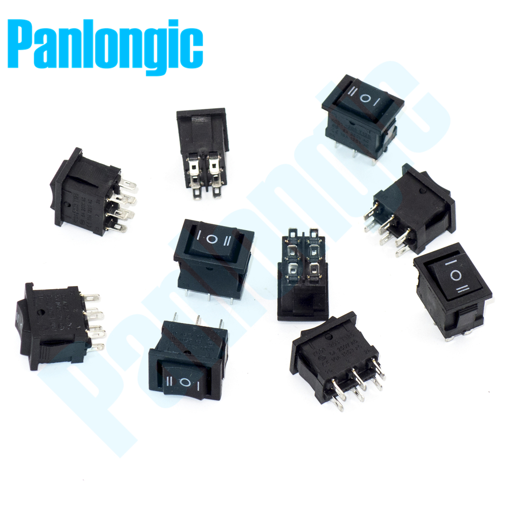 5pcs/lot Rocker Switch 3 Position 6 Foot Single Pole Double Throw SPDT AC 250V/6A 125V/10A Forward-Stop-Reverse Control ac 380v 63a 3 pole 2 knife switch circuit control opening load switch
