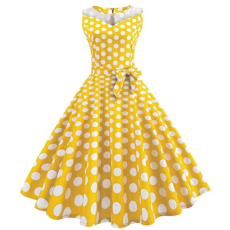 Retro letné párty šaty 1950 s bodkami Swing style (8 variánt) 22