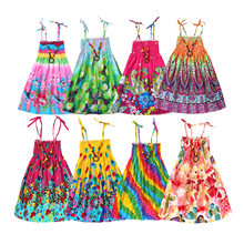 Summer Girls Bohemian Princess Dresses Rainbow Beach Dress for Teen Girls Linen Clothes with Vintage Necklace Gift 3 6 9 12 Year(China)