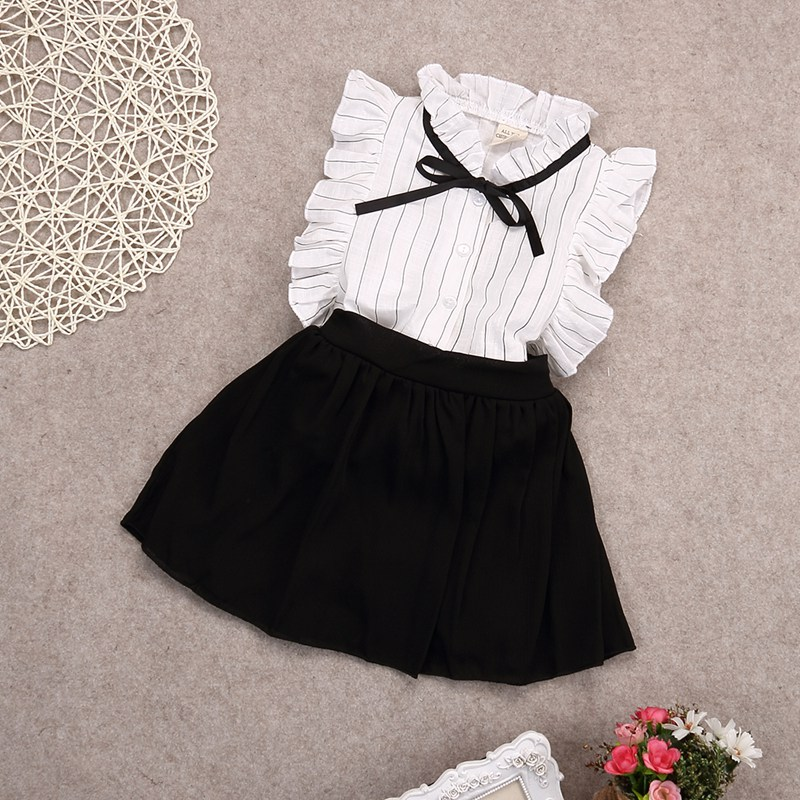 2PCS Set Girls Tutu Dress Kids Toddler Tops Skirt Button Striped Bow T-shirt Outfit Clothes Suit 2-7Y